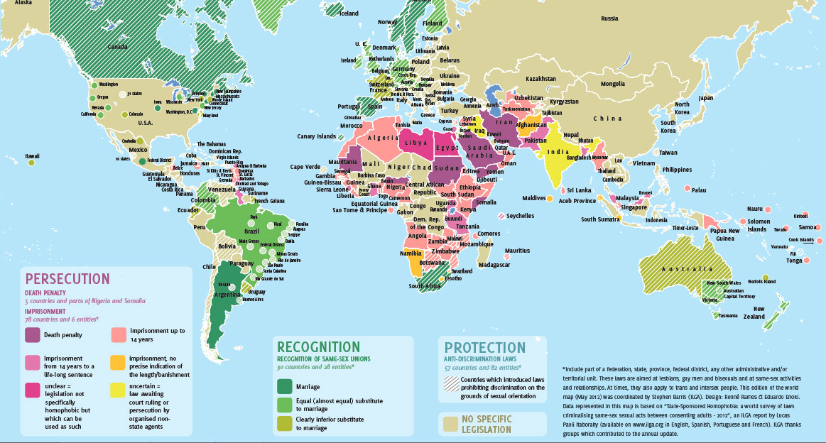 ILGA map of countries where homosexuality is illegal (Photo courtesy of ILGA)