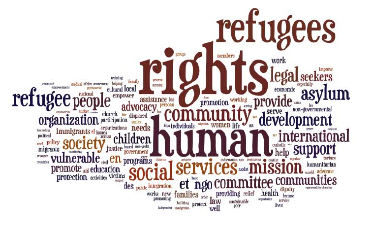 "The ""word cloud"" is based on the mission statement of participating NGOs (as reported by respondents in the survey). The size of each word indicates the frequency it occurs in all mission statements. (Photo courtesy of Indiana University)"