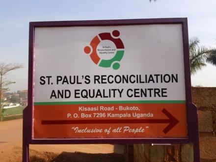 Sign for St. Paul's Center in Uganda