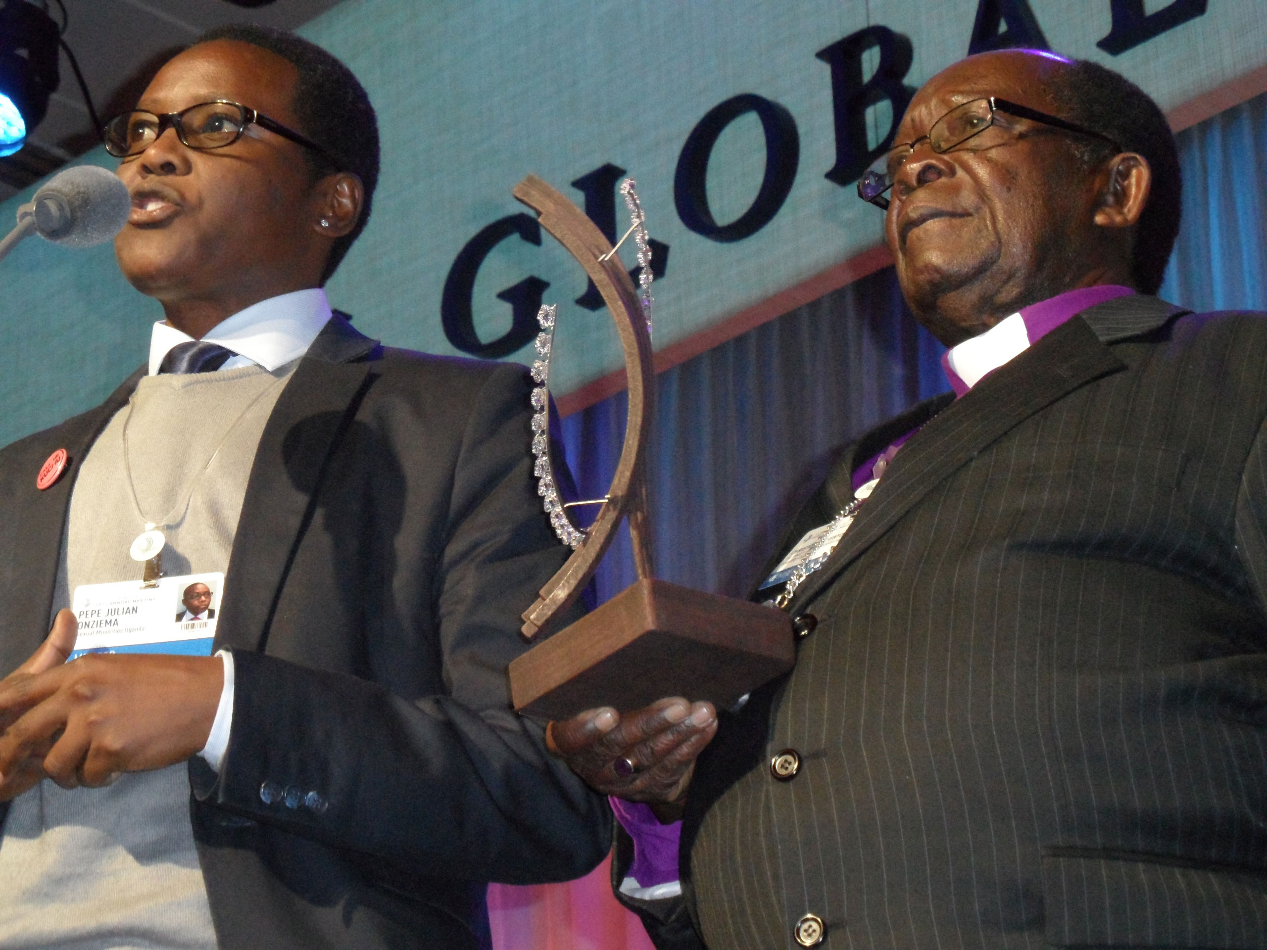 Clinton Global Citizen award winners Pepe Julius Onziema, left, and Bishop Christopher Senyonjo at Clinton Global Initiative 2012 in New York. at
