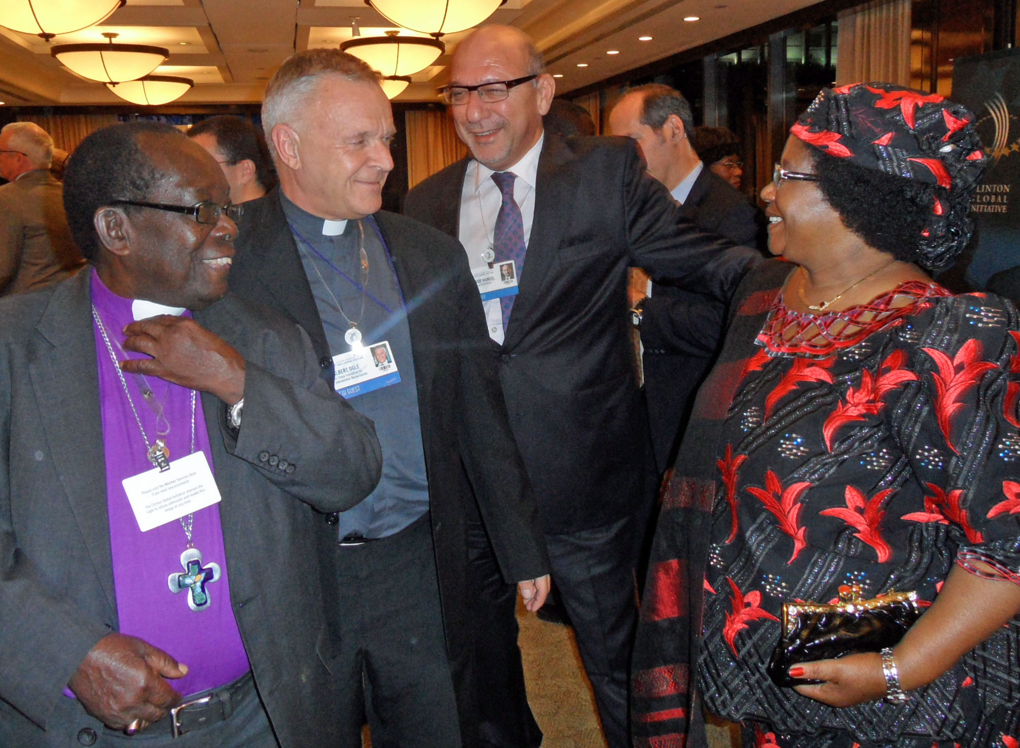 At Clinton Global Initiative 2012 meeting, from left to right, Bishop Christopher Senyonjo of Uganda; the Rev. Canon Albert Ogle; Trevor Manuel, minister of national planning in South Africa; and Joyce Banda, president of Malawi.
