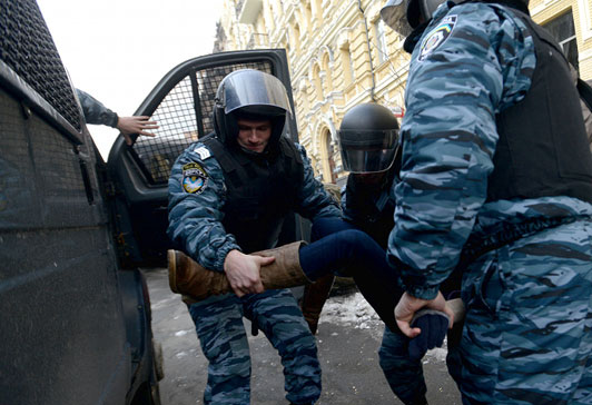 Arrest during Kiev protest on Dec. 8. (Photo courtesy of LB.ua)