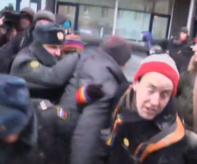 Attack on protesters in Moscow. (Still photo from video, courtesy of Sky News)