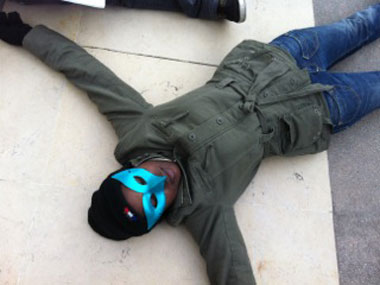 'Die-in' in Paris to protest Uganda's anti-homosexuality bill.