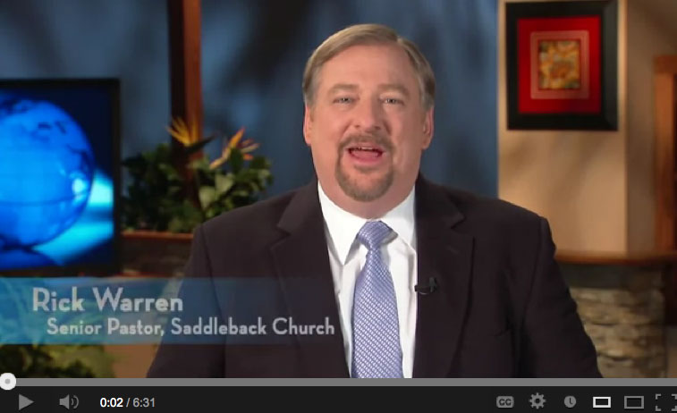 Rick Warren (Click on image for his YouTube message about Uganda's Anti-Homosexuality Bill)