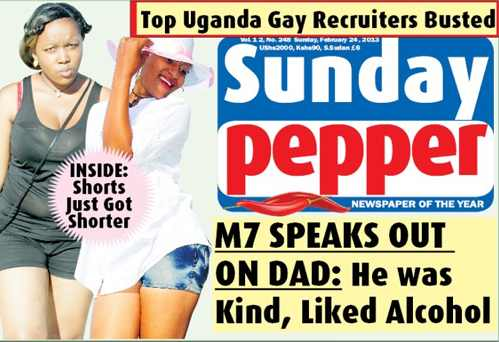 """The Sunday edition of the Ugandan tabloid Red Pepper claims that it has published a list of """"Top Uganda Gay Recruiters."""""""