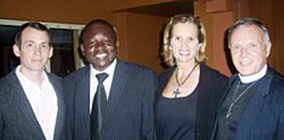 Human rights advocates meet in Uganda. From left, Wade McMullen, staff attorney at the Robert Kennedy Center; Robert Mbega, director of the HIV Program at the St Paul's Centre in Kampala; Kerry Kennedy, president of the Robert F. Kennedy Center for Justice and Human Rights; and the Rev. Canon Albert Ogle, president of the St. Paul's Foundation for International Reconciliation. (Photo courtesy of Albert Ogle)