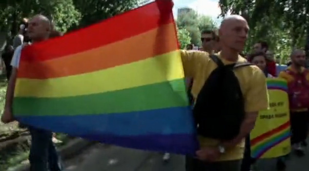 Kiev pride march on May 25, 2013. (Photo courtesy of RFE/RL) Click on the image for video.