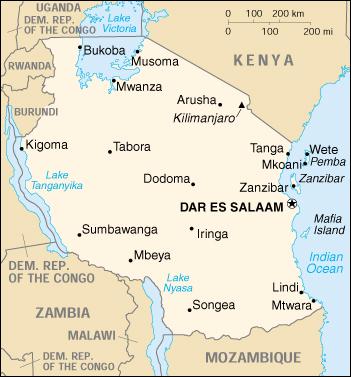 East Africa map shows Tanzania, with semi-autonomous  island of Zanzibar off shore.