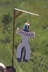 Effigy hanging at anti-gay protest in Belize. (Photo via Facebook)