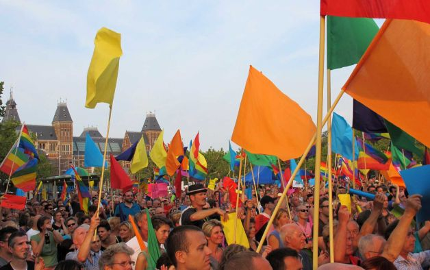Thousands turn out in Amsterdam to protest Russia's anti-gay laws. (Photo by Margriet Faber courtesy of  Newstimes.com)