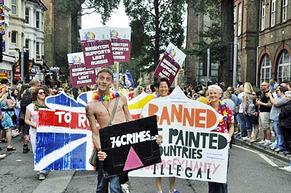 Pride marchers in Brighton, England, on Aug. 2 protested Russia's anti-crackdown along with 76-plus countries' laws against same-sex love. (Photo courtesy of The Brighton Sauna, which sponsored the protest)