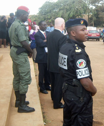 Cameroonian police and army provided security because diplomats were in attendance. (Photo courtesy of Camfaids)