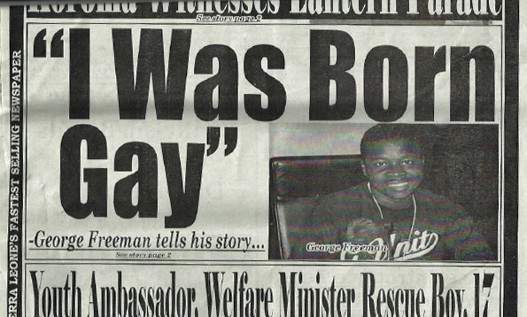 Page 1 story about George Freeman in the newspaper Exclusive of Sierra Leone.