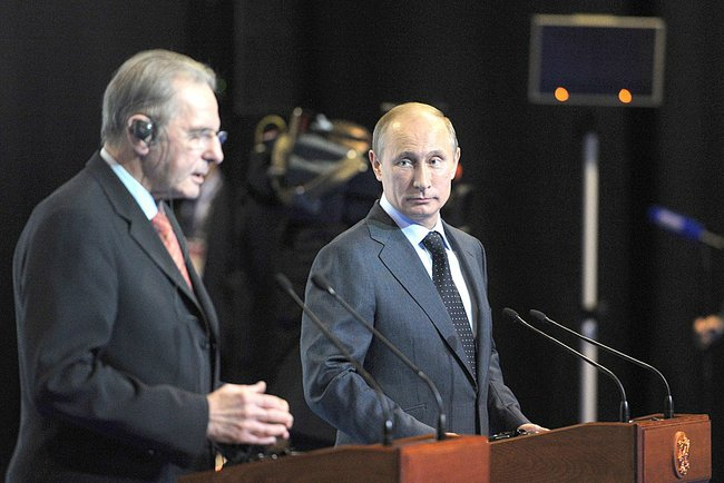 IOC President Jacques Rogge meets with Russian President Vladimir Putin in May 2013. (Photo courtesy of Wikimedia Commons)