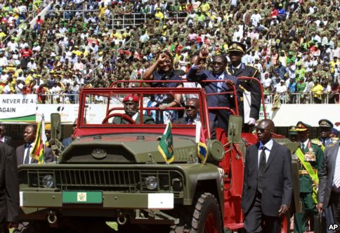 President Robert Mugabe and his  inauguration on Aug. 22. (Photo courtesy of Voice of America)
