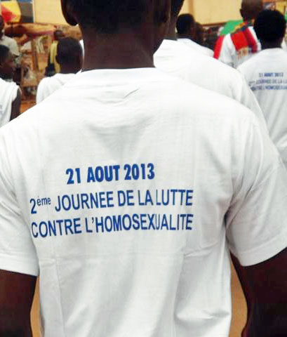 """Marchers on the """"Day Against Homosexuality"""" in Cameroon."""
