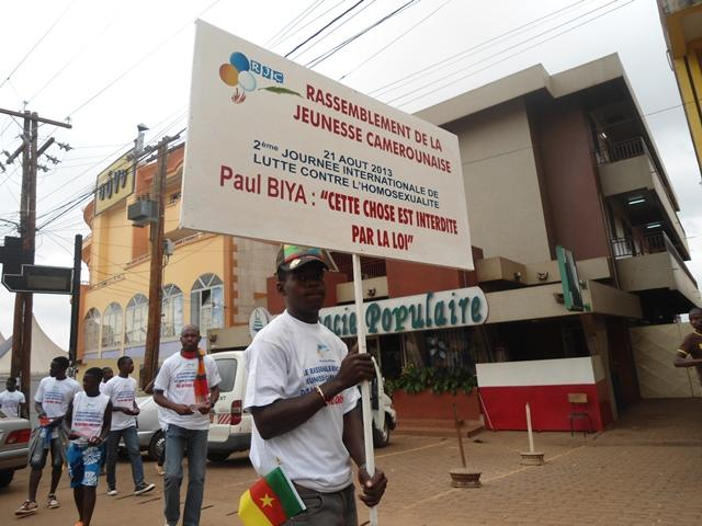 """Day Against Homosexuality"" march in Yaoundé, Cameroon."