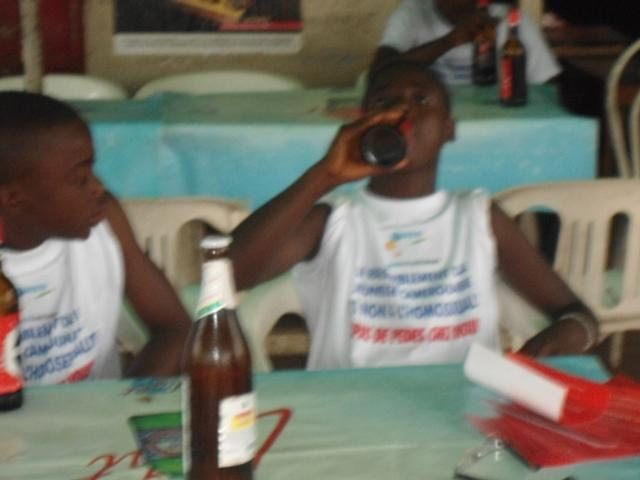 Boys in the Aug. 21 anti-gay march were given beer to drink.