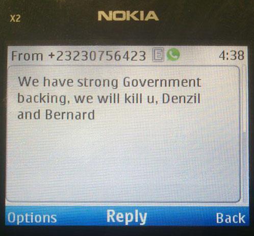 Death threat in Sierra Leone.