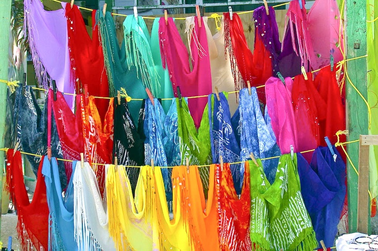 Rainbow colors of sarongs in Jamaica (Photo by Steven Gruber courtesy of Pinterest)