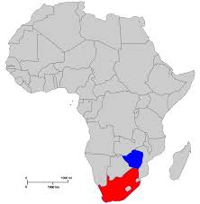 Location of Zimbabwe and South Africa