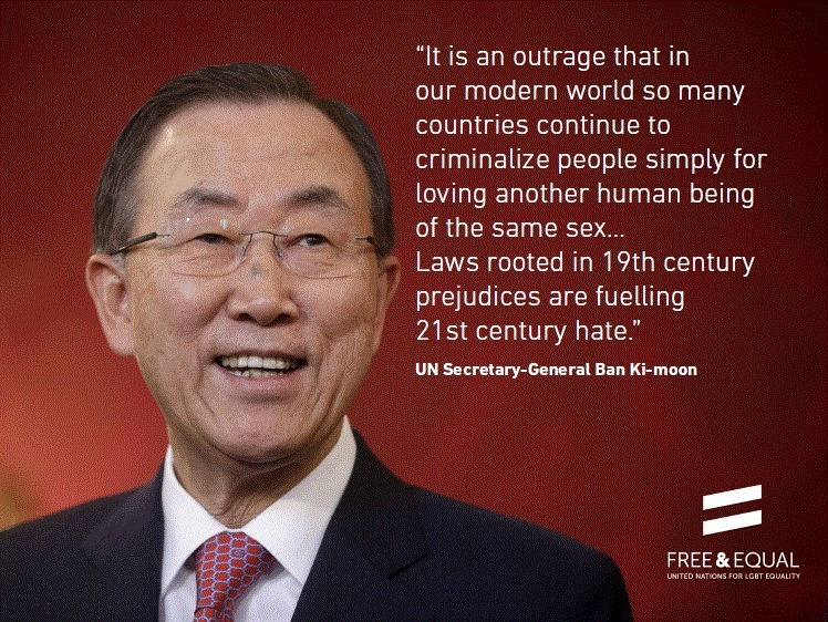 One of the latest appeals for the repeal of 76+ countries' anti-gay laws from U.N. Secretary-General Ban Ki-moon.