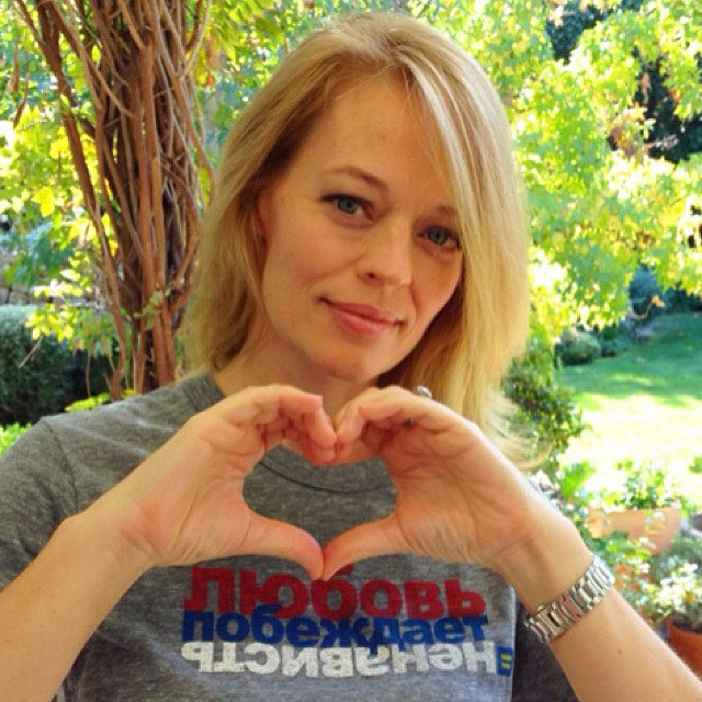 """Actress Jeri Ryan supports HRC's Russian """"Love Conquers Hate"""" campaign. (Click image for link.)"""