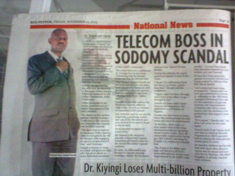 "Anti-gay Ugandan tabloid Red Pepper reported Sam Ganafa's arrest under the headline ""Telecom boss sodomy scandal."""