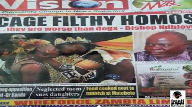 Sensationalistic anti-LGBT headline in Zambian newspaper. (Photo courtesy of YouTube)