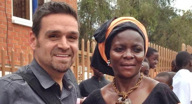 J.P. Conly meet with Maxensia Nakibuuka in Uganda (Photo courtesy of San Diego Gay & Lesbian News)