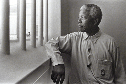 Nelson Mandela in cell at Robben Island.