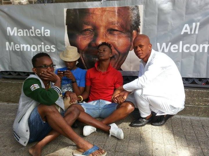 Gathering during the ongoing ICASA anti-AIDS conference in South Africa at one of many Nelson Mandela memorials.