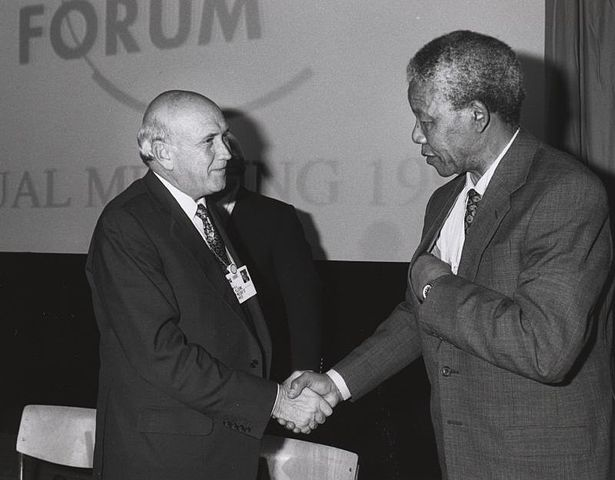 Nelson Mandela with his predecessor, former South African President Frederik de Klerk in 1992 (Photo courtesy of WIkimedia Commons)