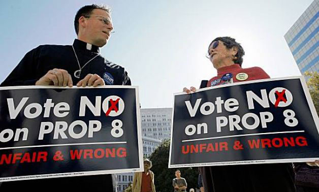 The Rev. Mike Schuenemeyer protests against Prop. 8 in Oakland, Calif., in 2008. (Photo courtesy of SFGate.com)