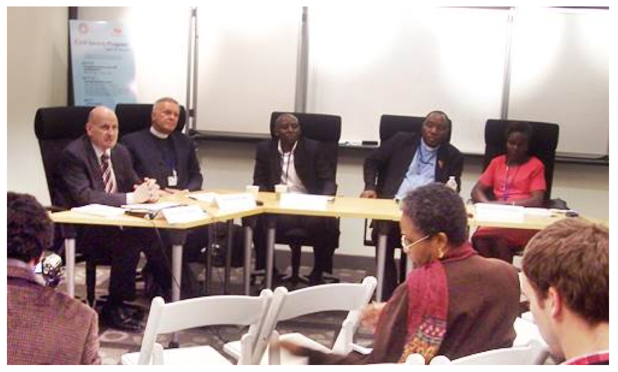 From left: Philip Moeller, Albert Ogle, Victor Mukasa, MacDonald Sembereka and Maxensia Nikibuuka at the World Bank LGBT panel.