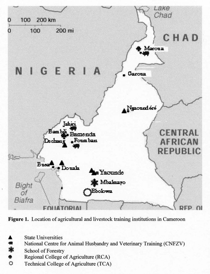 Map of Cameroon shows the location of E south of Yaounde, the capital.