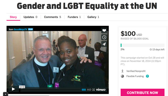 The Rev. Canon Albert Ogle and Angeline Jackson appear on the fund-raising page for the partnership. (Click on the image for link to that page.)