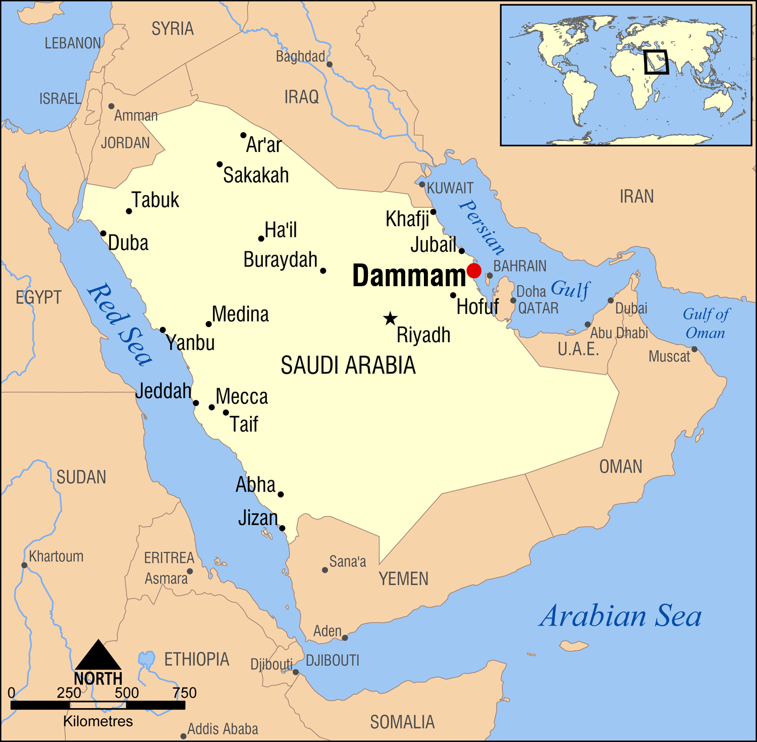 Location of Dammam in eastern Saudi Arabia (Map courtesy of Wikipedia)