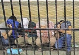 Egyptian defendants in courtroom cage during trial (Photo courtesy of DT News)