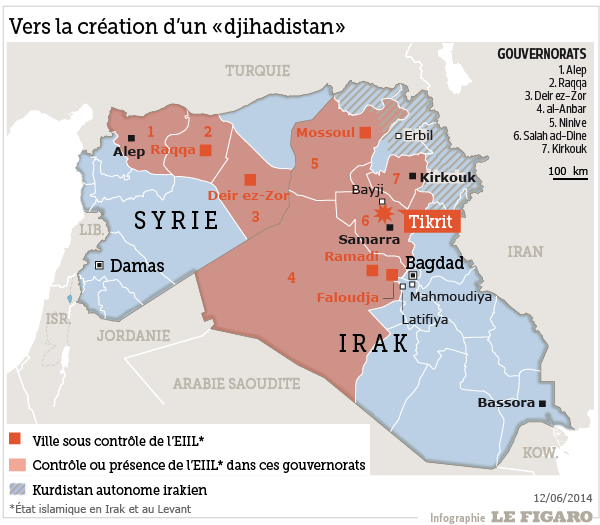 Map of the Islamic State territory in Irak and Syria (Map courtesy Le Figaro)