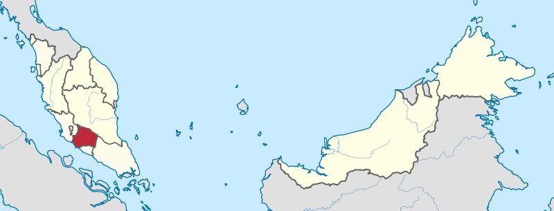 Location of Negeri Sambilan in Malaysia. (Map courtesy of Wikimedia Commons)
