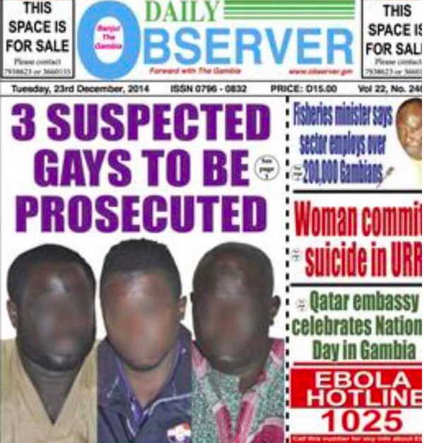 Gambia Daily Observer front page reports on anti-gay crackdown in December 2014. (Photo courtesy of Twitter)