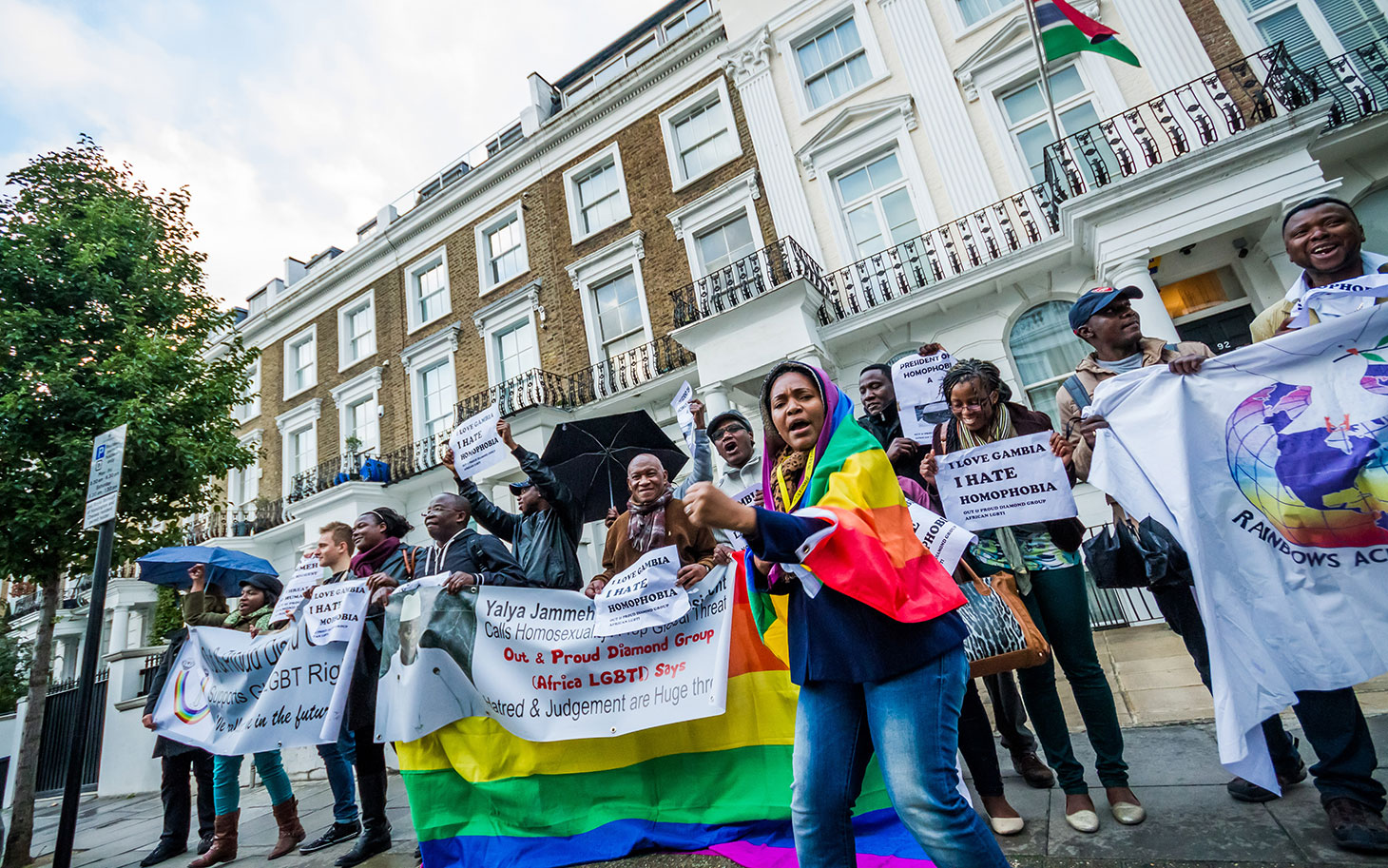 Protest at the Gambian High Commission in London (Photo courtesy of america.aljaseera.com)