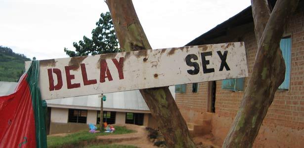 Sign at Ugandan school conveys a pro-abstinence message. (Photo courtesy of Avert.com)