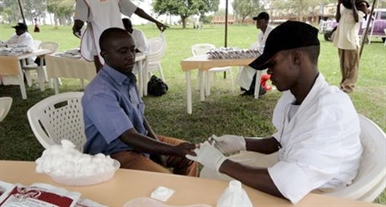 HIV testing in Uganda photo courtesy AIDS Healthcare Foundation