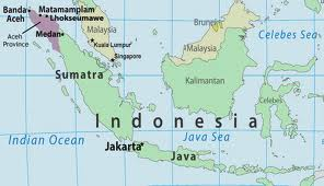 Indonesia, with Aceh at the North-West tip of Sumatra island (map courtesy of PBS.org)