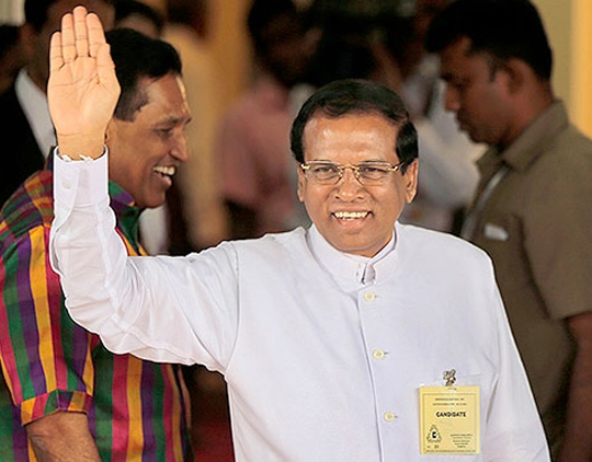 Newly elected Sri Lankan President Maithripala Sirisena Photo courtesy of IndiaExpress.com)