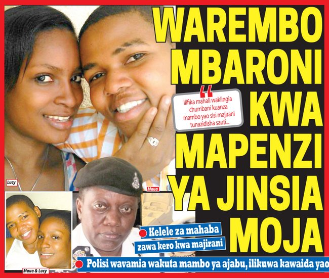 """Tanzanian newspaper coverage of the case in Swahili. The headline states, """"beautiful girls arrested for homosexuality."""" The photos depict Maua Sadick, Lucy Fred and police commander Mary Nzuki."""