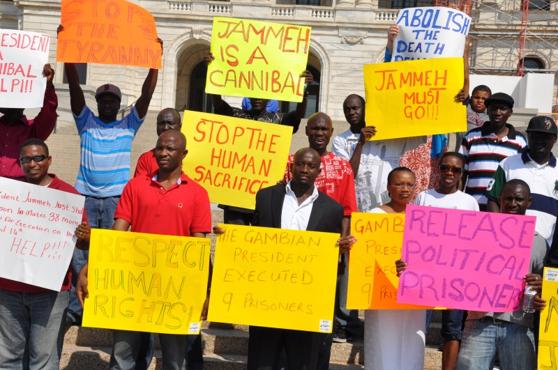 Anti-Jammeh protest in the United States in 2012 (Photo courtesy of The Africa Paper)